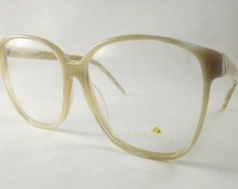 Huge Womens Eyeglasses, Vintage Liz Claiborne Designer Frames, Marbled Tan White Eyeglasses