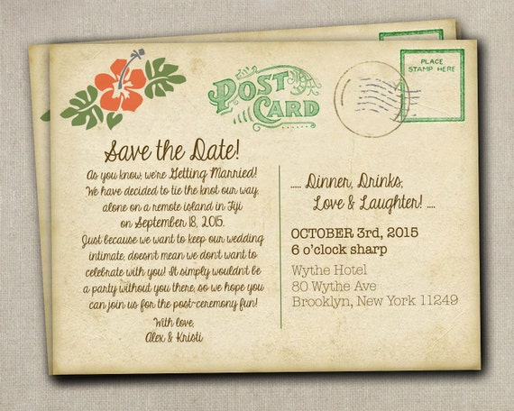 Wedding Save The Date Postcards: Items Similar To Wedding Save The Date Reception Elopement