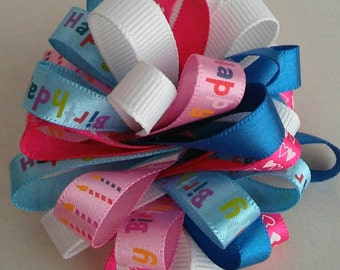 Happy Birthday Pink and Blue Hair Bow Clip