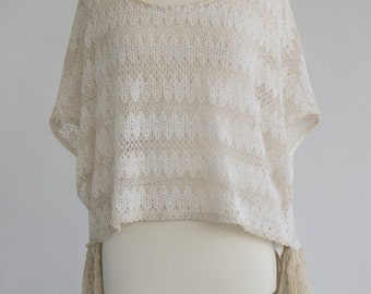 Women's clothing upcycled knit sweater top with ruffled back cream XL
