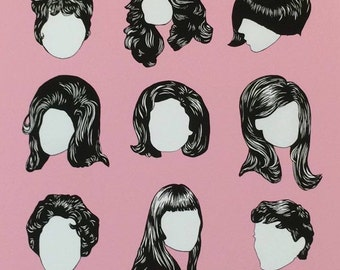 Brunette Icons Illustrated Poster