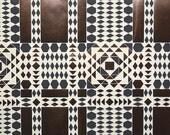 REMNANT of Vintage Wallpaper, Single 60 Inch Piece - Segmant of Hand-Printed Judd Scott Mylar Wallpaper Navy Brown Beige Tribal Geometric