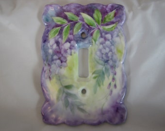 Purple Wisteria hand painted on a Porcelain Single Switchplate cover