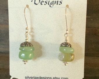Green Peruvian Opal Dangle Earrings, Gift for Her