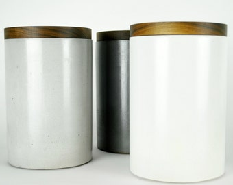 Concrete Canister with Walnut Lid Lg