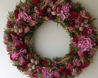Burgundy Pink All Natural Dried Flower Wreath