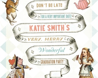 Alice in Wonderland Party Invitation, Digital Download, Printable, Events + Parties