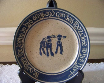 Christian scripture hand made pottery plate aprox 7 inch