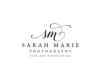 Photography premade logo and watermark design with script calligraphy font and initials 374