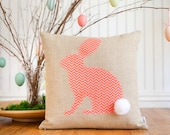 Cottontail Bunny Pillow Cover, Choice of fabric, 16x16, , Easter, Spring