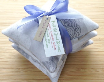 Organic Cotton Flannel Sachets Filled with Organic Lavender Made with Organic Flannel Fabric