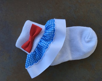 Super Cute Wizard of Oz Dorothy Socks + Bows