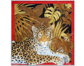Salvatore Ferragamo gallery framed acrylic Leopard scarf orchids tropical plants Hollywood Regency wall decor red sienna gold