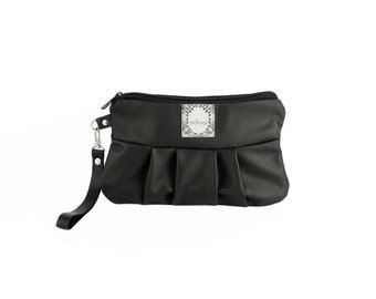 "Black Leather Wristlet, Soft Leather Clutch, Gift for Her, Convertible Wallet, Birdbags ""Kelly Wren"" Pleated Clutch"