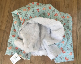 the chic baby blanket - aqua and coral birds