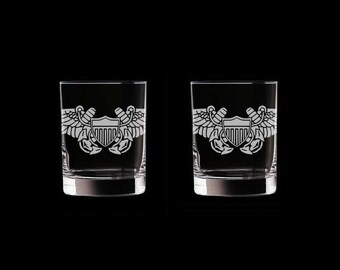 USN Naval Flight Officer Set of 2 Double Old Fashioned Glasses US Navy pilot aviator nfo aviation