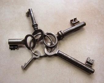 5 Vintage Steel Mixed Sized Keys, Lot of 5 Antique Keys, Collectible Key Set, Skeleton and Barrel Key Collection Germany, Steampunk Keys
