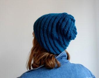 Handknit beanie, Dark cyan beanie, chunky hat, spiral knitting beanie. womens winter hat...