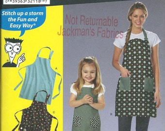 Simplicity 2824 Sewing Patterns For Dummies, Child's & Misses Apron Pattern UNCUT