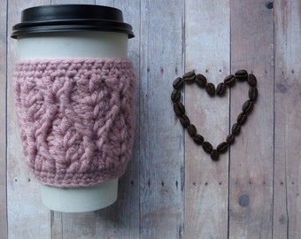 Cabled Coffee Cup Sleeve - Dusty Rose - Pink - Ready to ship - Gift idea