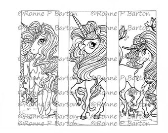 IMG053 Unicorn Bookmarks 3 to color your own way fantasy art digital stamp instant download digi stamp coloring page