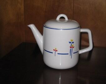 Vintage Riva Designs Ceramic Tea Pot with Tulip Details, Retro Tea Kettle