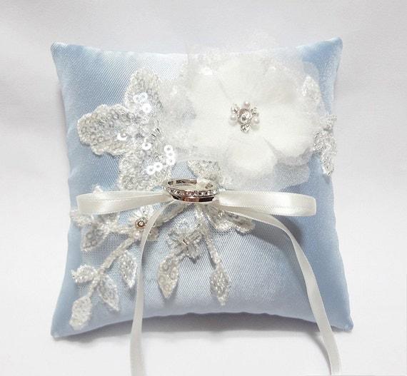 Wedding ring bearer pillow, Blue ring pillow, Wedding ring cushion, Wedding Ring Pillow Cream Satin Organza Blossom on Pale Blue Pillow
