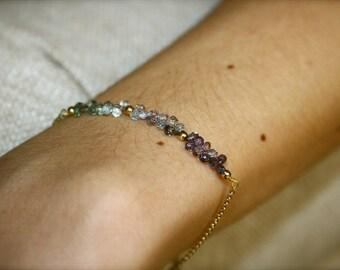 Sapphire and 18k gold bracelet, Sapphire chain bracelet, Sapphire drops bracelet, Layered bracelet, Minimalist bracelet
