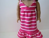 "SALE. Made To Fit Like American Girl Doll Clothes; Doll Sundress; 18"" Doll Dress; Pink Doll Dress; 18"" Doll Beach Dress; Doll Dress"
