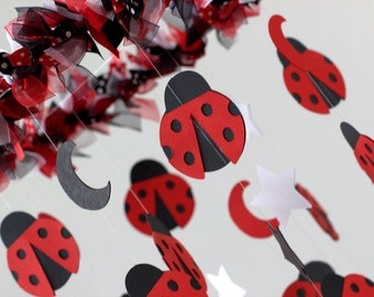Ladybug Nursery Mobile in Red, White & Bloack- LARGE SIZE Baby Mobile, Crib Mobile, Baby Shower Gift