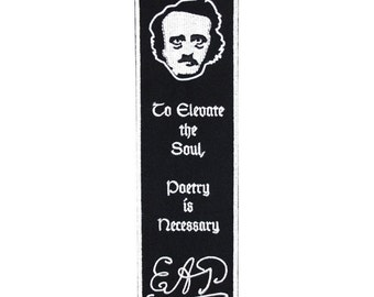 "Bookmark Sew-On Patch Edgar Allan Poe Fan Craft ""Poetry"" Elevates the Soul Quote"