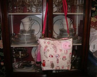 Pink Owls Bag/Alexander Henry fabric/Crossbody Bag/Shoulder Bag