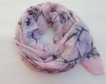 Birds, pink soft scarf.