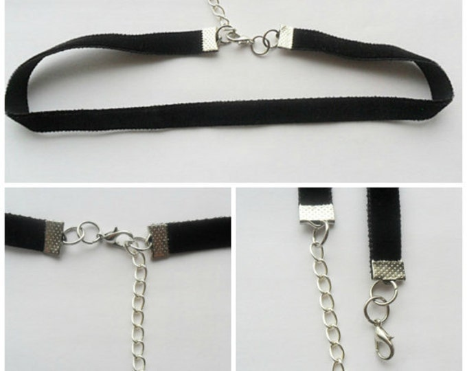 "Velvet choker necklace plain with a width of 3/8""(pick your neck size) Black Ribbon Choker Necklace"
