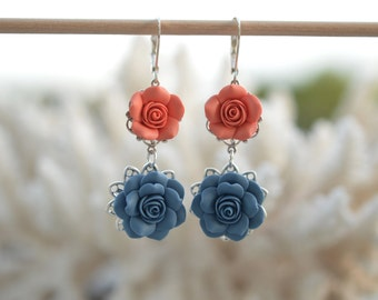 Mardy Double Roses Statement Earrings in Dusty Blue and Coral Orange