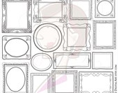 Decorative Whimsical Frames Doodle Borders Digital Clipart Cute Teacher Scrapbook Supply Hand Drawn Sketch Photographer Picture Frames 10004