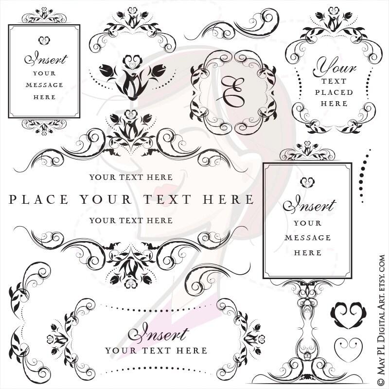 Flower Frame Clipart Swirl Png Vintage Flourish Craft Office