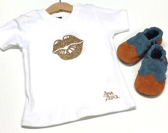 "Girls - Short Sleeve Tee - ""Hot Lips"" Design - Custom shirts"