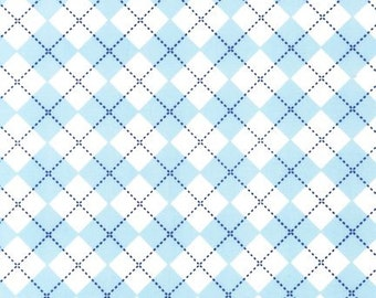 Robert Kaufman Blue Argyle AAK-10392-63 SKY by Ann Kelle from Remix