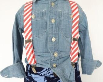 Coral Stripe Suspenders