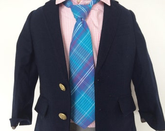 Blue and Purple Plaid Necktie for Boys