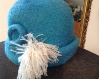 Vintage Fedora, Cloche, Mod, Made in Italy, Genuine Beaver, Feather, Toby of London