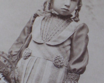 Antique Victorian Cabinet Card Photo of Child with Flower Baskets and Long Blond Curls - Vintage Supplies - Boy or Girl? - Paper Ephemera