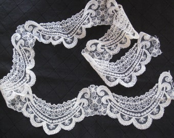 "Antique Cream Embroidered Net Lace Trim - Wide Swagged, Scalloped Floral Design - 1 Yard +8"" Long - NOS Vintage Supplies, Sewing, Wedding"