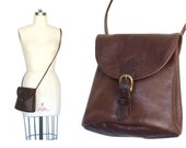 Pebbled Leather Brown Cross Body Bag Purse
