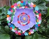 Glass Plate Flower Garden Art - Hand Painted Floral with Repurposed Glass - Sun catcher - Garden Sculpture - Yard Art - Glass  Flower