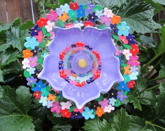 Glass Plate Flower Garden Art - Hand Painted Floral with Repurposed Glass - Sun catcher - Garden Sculpture - Yard Art - Glass  Flower