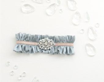 No. 36 Silk Garter, Something Blue, Bridal Garter, Wedding Garter Set, Adjustable, Rhinestone