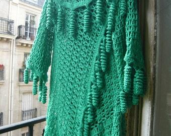 Handmade crochet cotton  boho hippie sweater shrug jacket vest bolero short sleeves flexible green all curls fringed saint Patrick gift