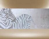 Zebra painting modern textured original art African 40x16 FREE SHIP